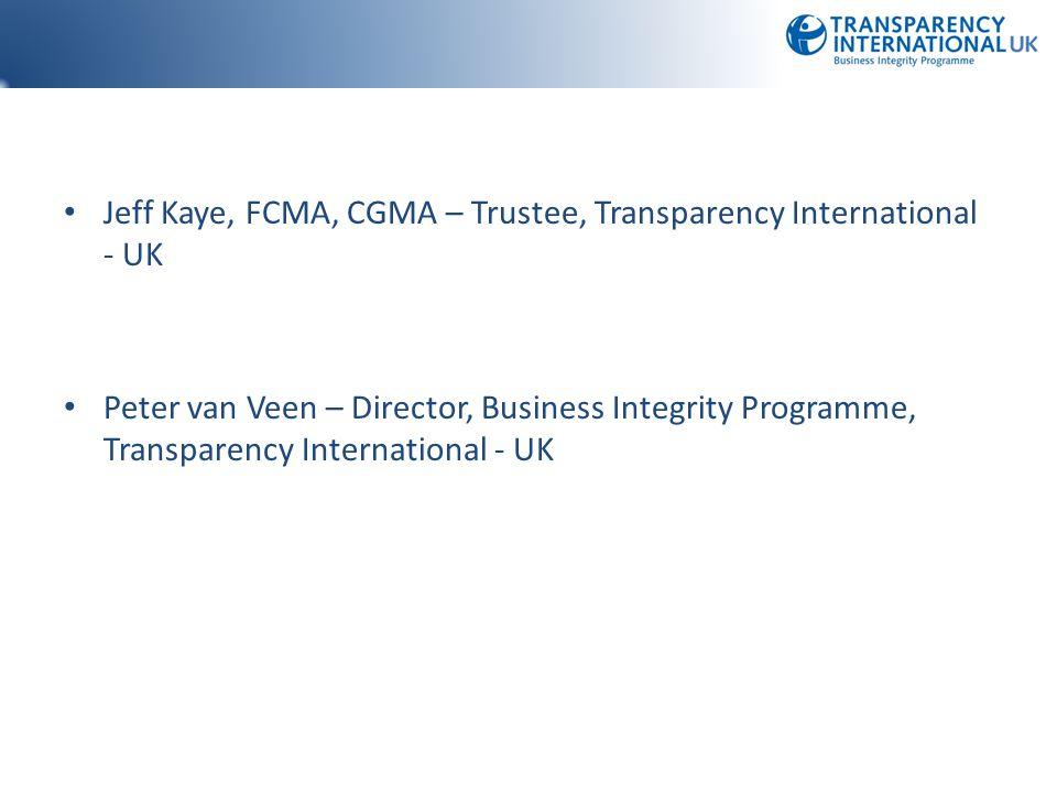 Jeff Kaye, FCMA, CGMA – Trustee, Transparency International - UK