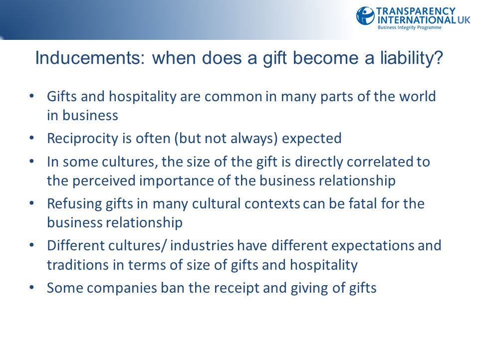 Inducements: when does a gift become a liability