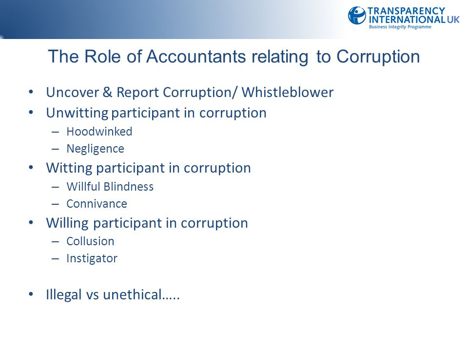 The Role of Accountants relating to Corruption