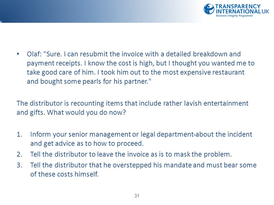 Tell the distributor to leave the invoice as is to mask the problem.