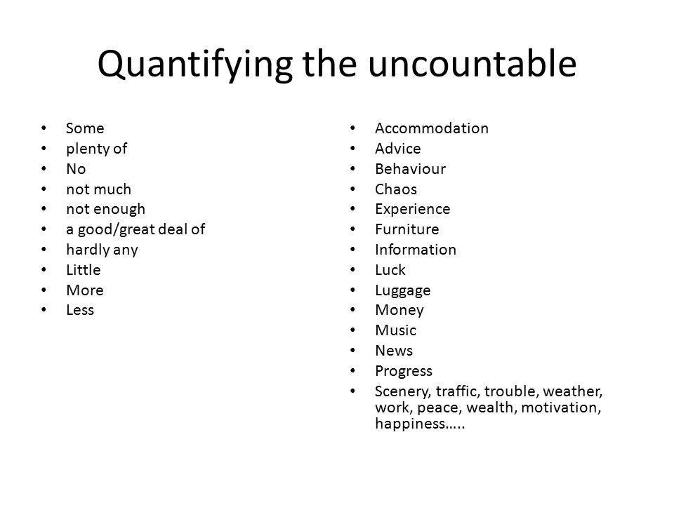 Quantifying the uncountable