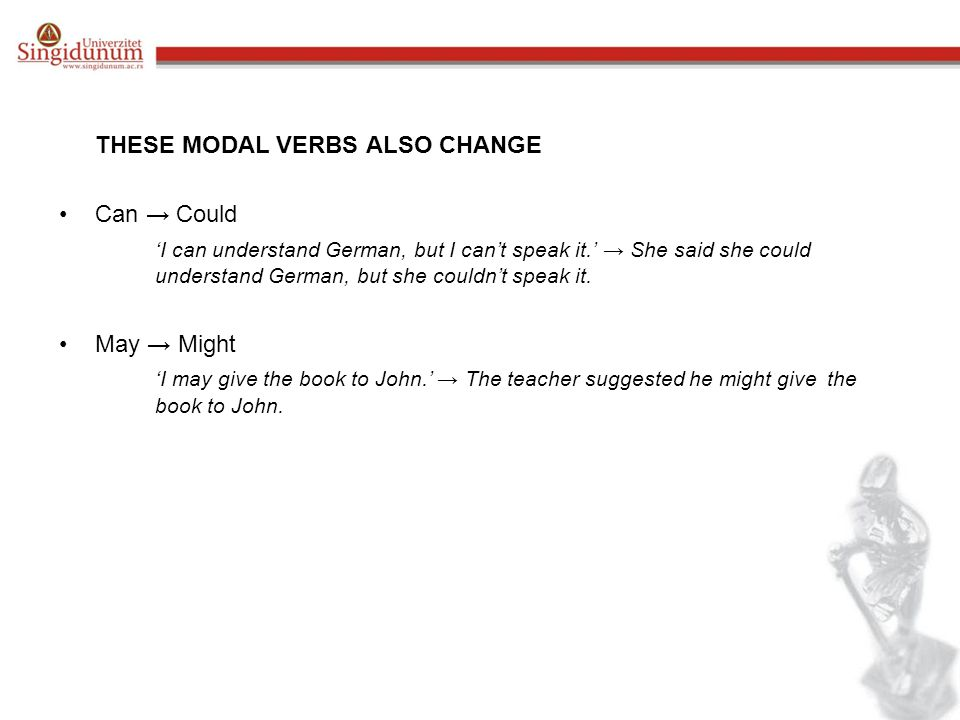 THESE MODAL VERBS ALSO CHANGE