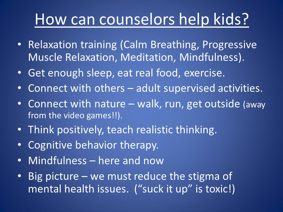 How can counselors help kids