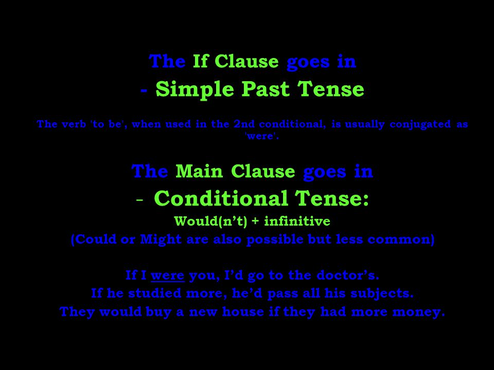 - Simple Past Tense Conditional Tense: