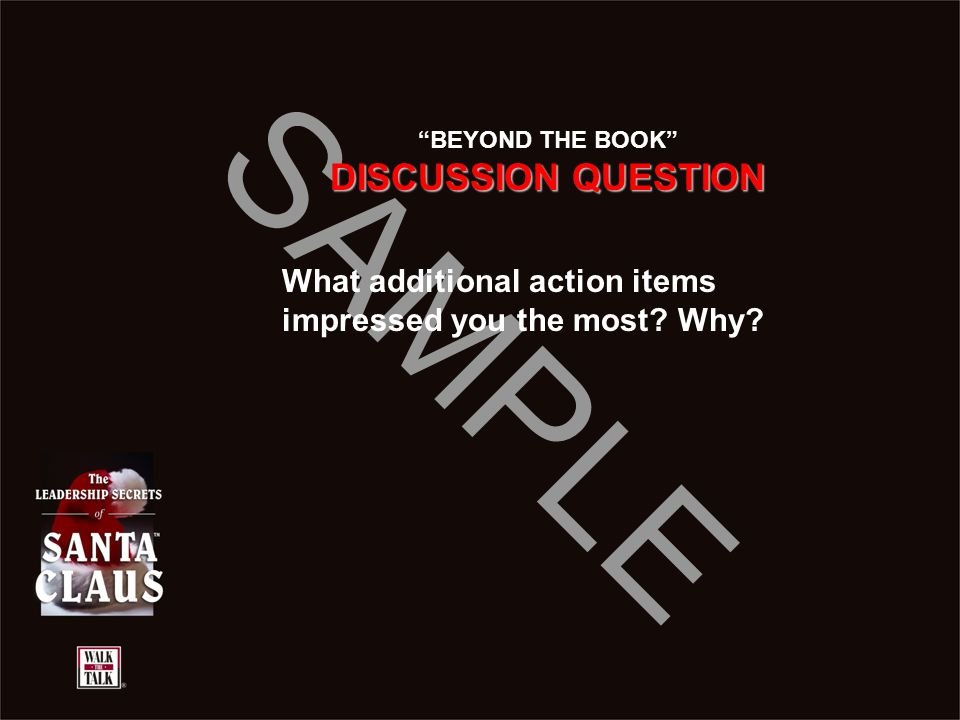 BEYOND THE BOOK DISCUSSION QUESTION What additional action items impressed you the most Why