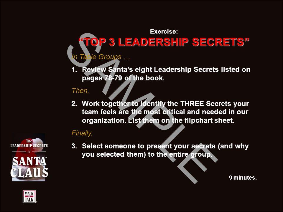 TOP 3 LEADERSHIP SECRETS