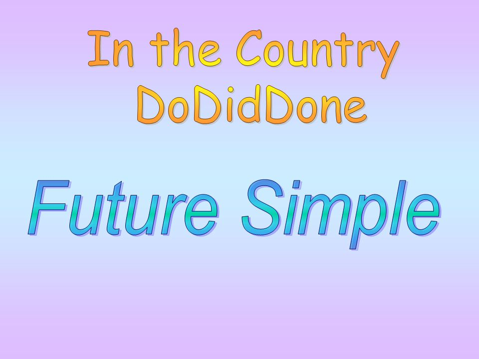 In the Country DoDidDone Future Simple