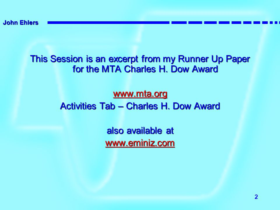 Activities Tab – Charles H. Dow Award