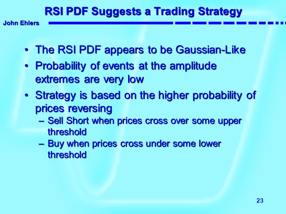 RSI PDF Suggests a Trading Strategy