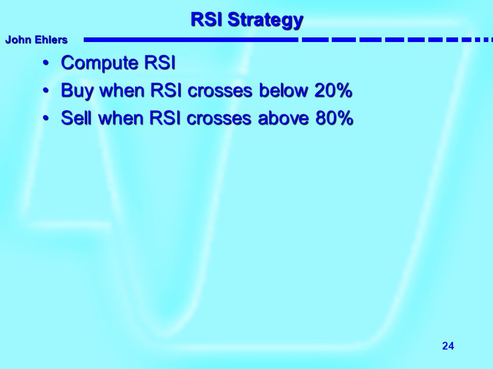 RSI Strategy Compute RSI Buy when RSI crosses below 20% Sell when RSI crosses above 80%