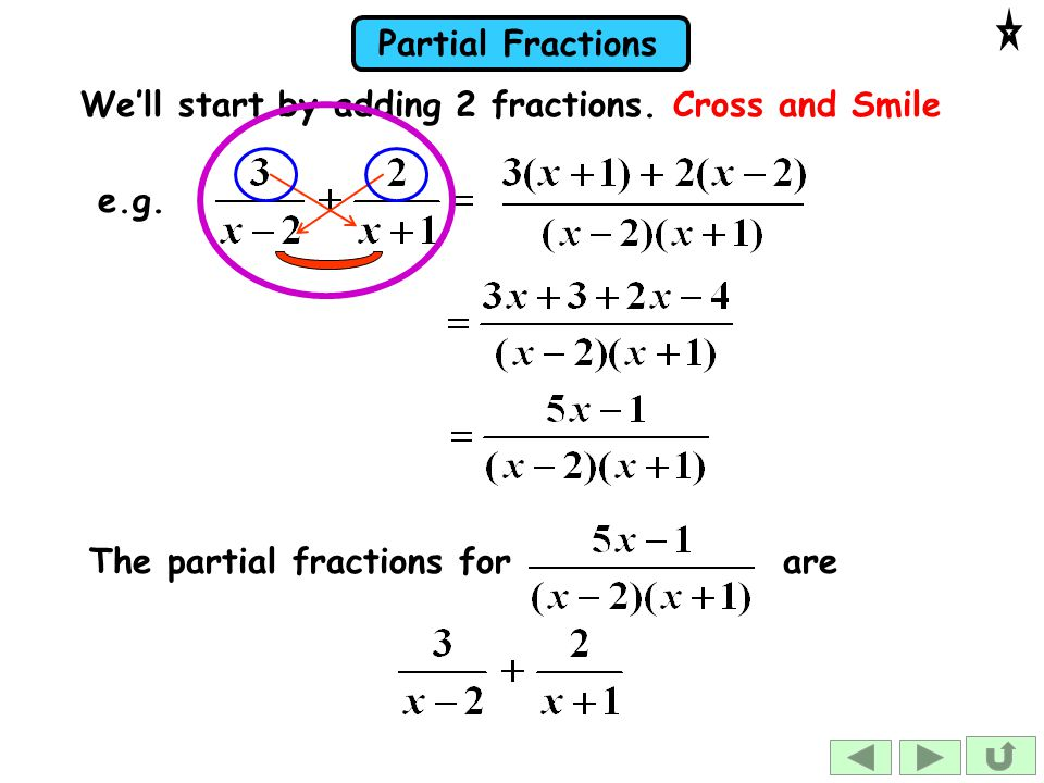 We'll start by adding 2 fractions. Cross and Smile