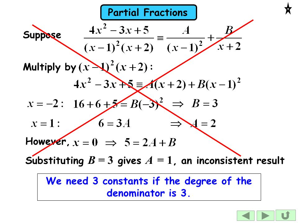 We need 3 constants if the degree of the denominator is 3.