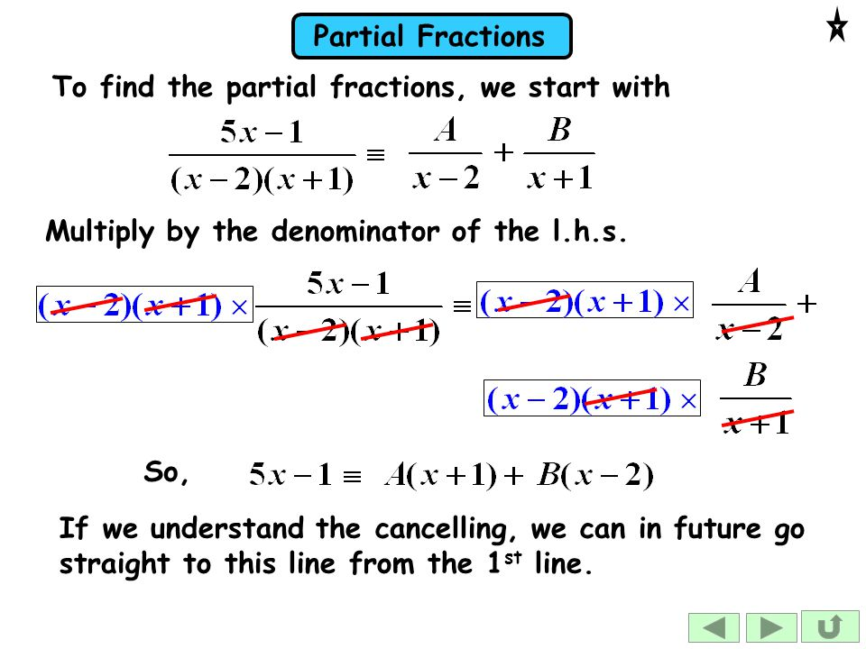 To find the partial fractions, we start with