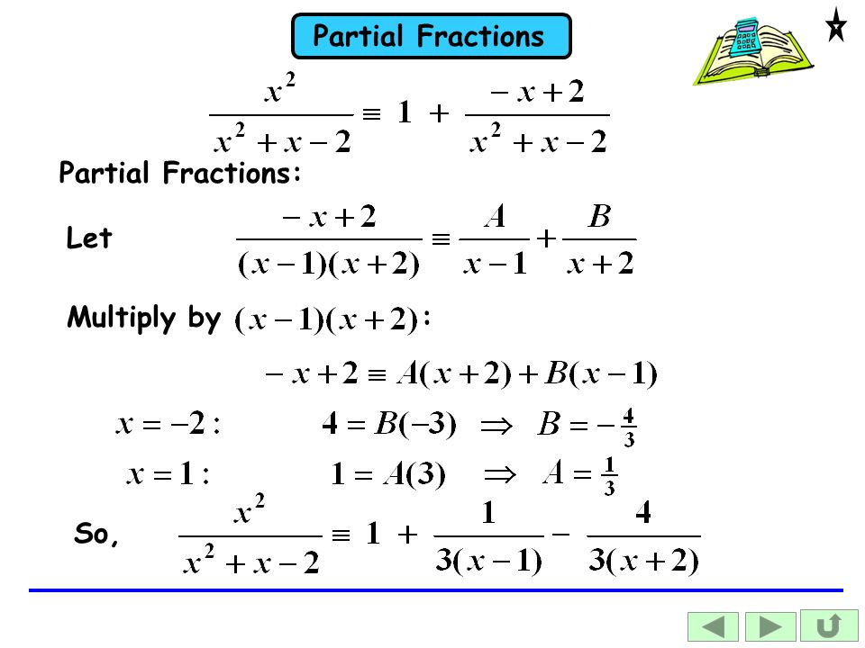 Partial Fractions: Let Multiply by : So,