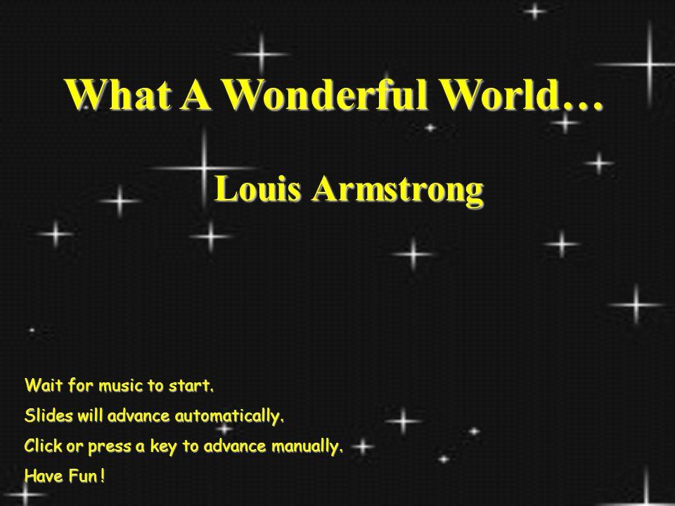 What A Wonderful World…
