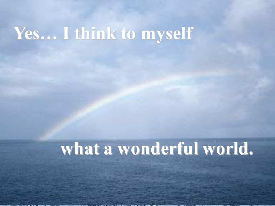 Yes… I think to myself what a wonderful world.