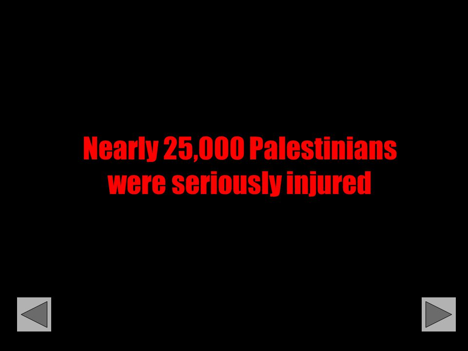 Nearly 25,000 Palestinians were seriously injured
