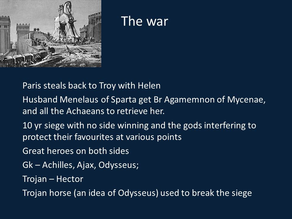 The war Paris steals back to Troy with Helen