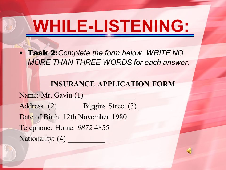 INSURANCE APPLICATION FORM