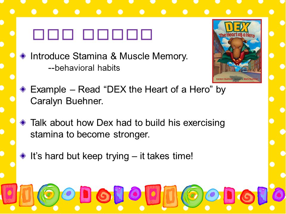 Day Three Introduce Stamina & Muscle Memory. --behavioral habits