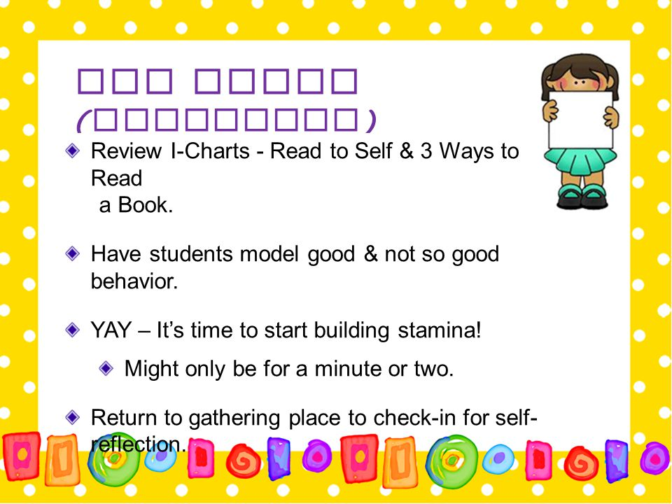 Day Three (Continued) Review I-Charts - Read to Self & 3 Ways to Read