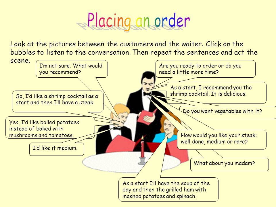 Placing an order