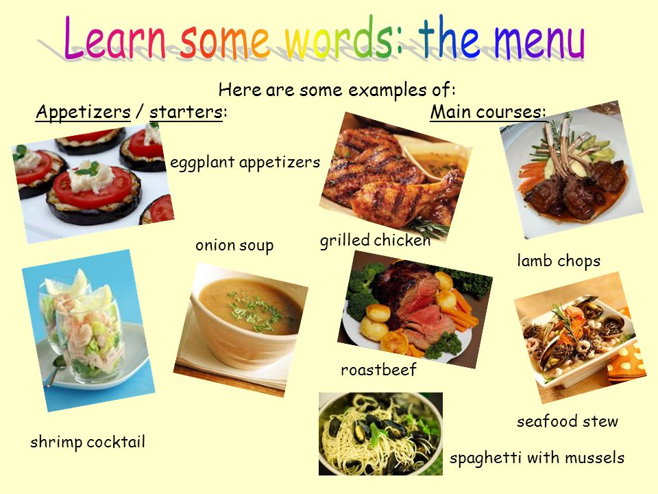Learn some words: the menu