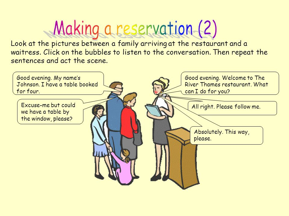 Making a reservation (2)