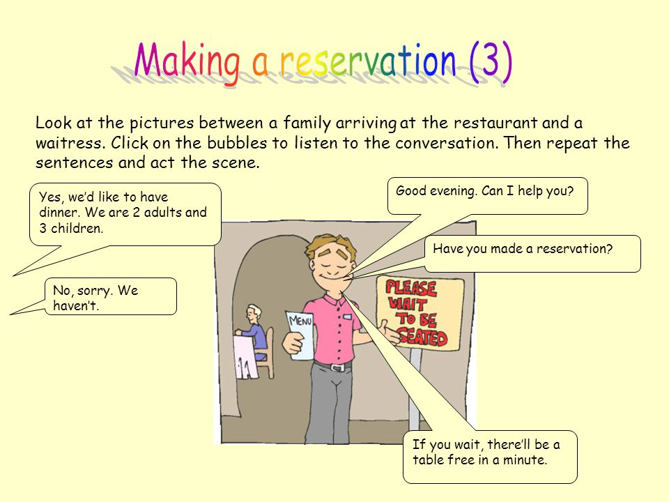 Making a reservation (3)