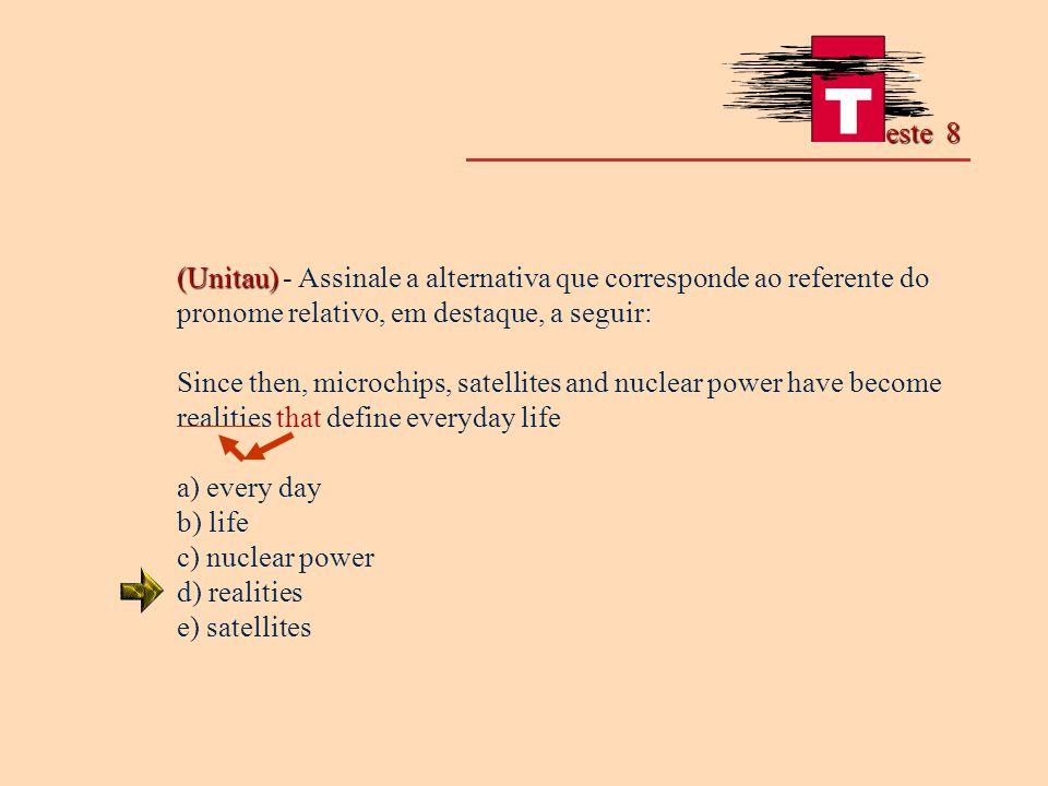 este 8 (Unitau) - Assinale a alternativa que corresponde ao referente do pronome relativo, em destaque, a seguir: