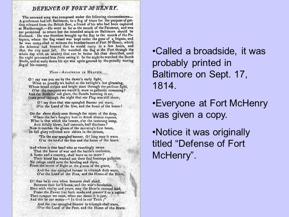 Called a broadside, it was probably printed in Baltimore on Sept