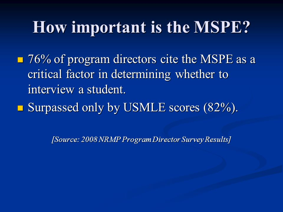 How important is the MSPE