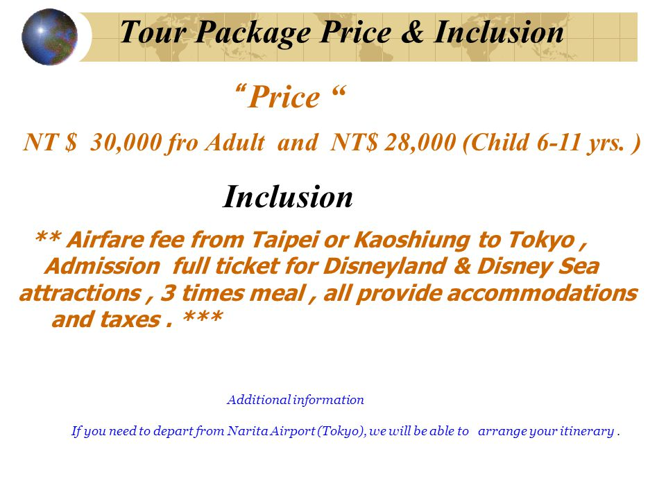 Tour Package Price & Inclusion