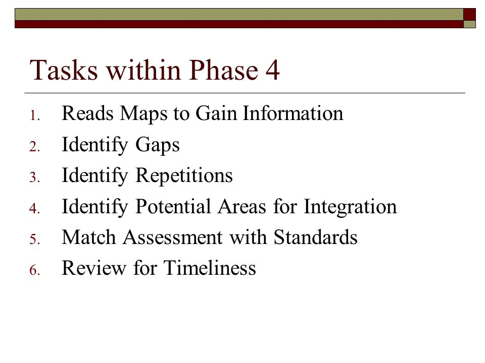 Tasks within Phase 4 Reads Maps to Gain Information Identify Gaps
