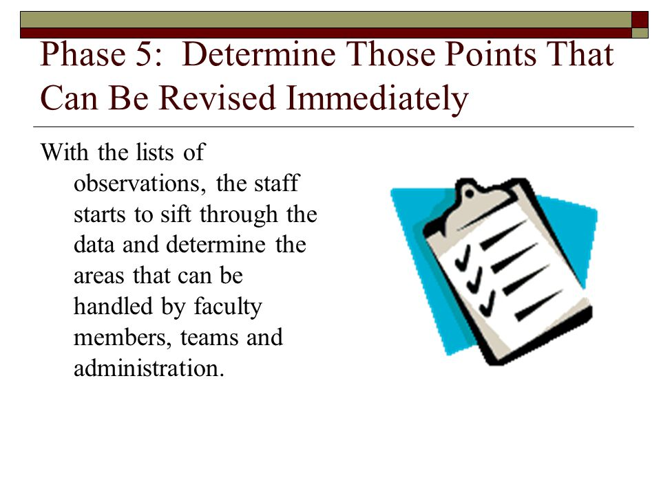 Phase 5: Determine Those Points That Can Be Revised Immediately