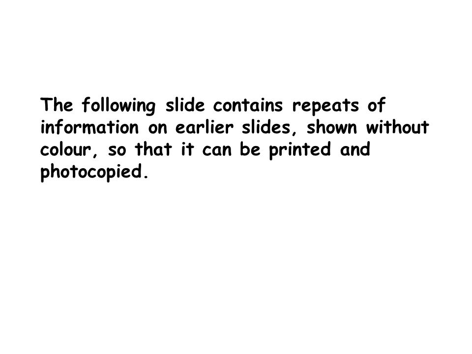 The following slide contains repeats of information on earlier slides, shown without colour, so that it can be printed and photocopied.
