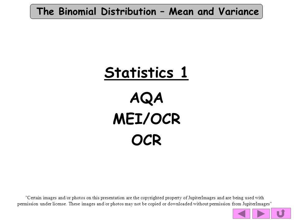 Statistics 1 AQA MEI/OCR OCR