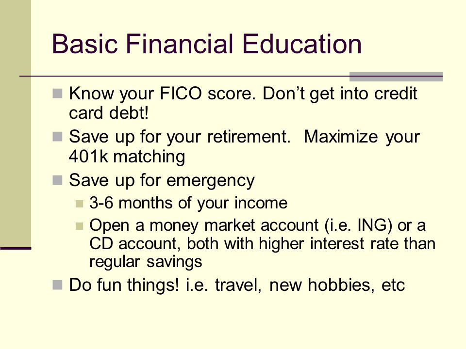 Basic Financial Education