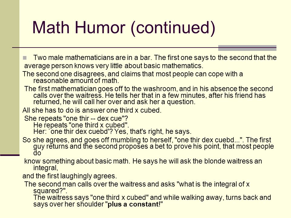 Math Humor (continued)