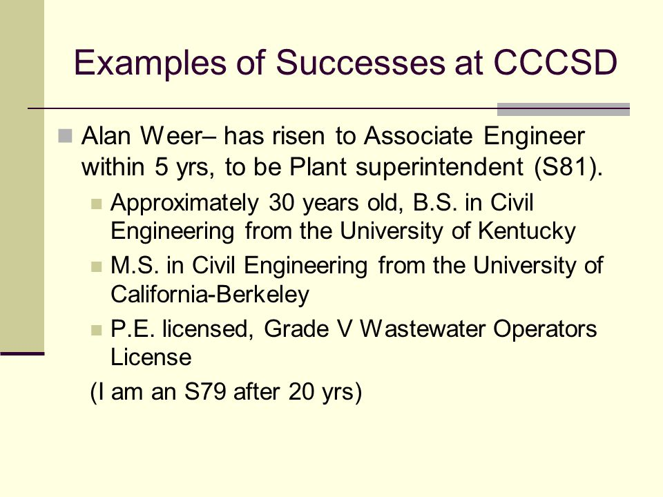 Examples of Successes at CCCSD