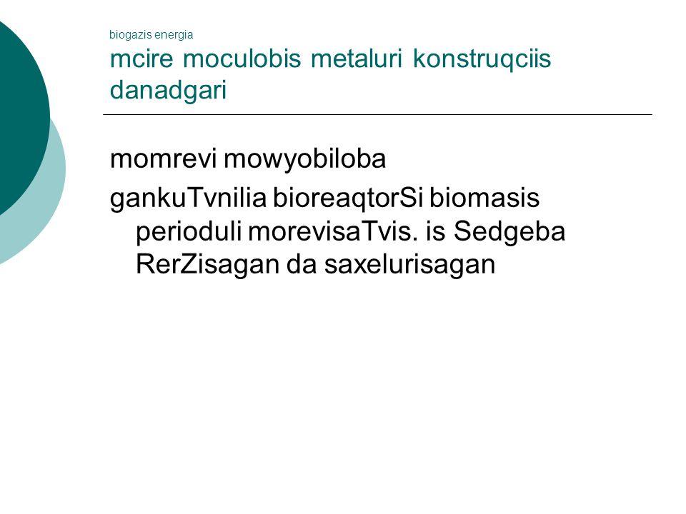 biogazis energia mcire moculobis metaluri konstruqciis danadgari