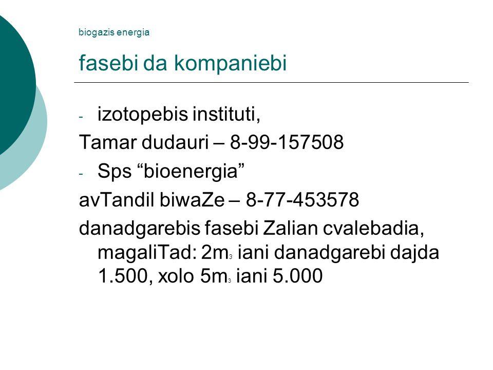 biogazis energia fasebi da kompaniebi