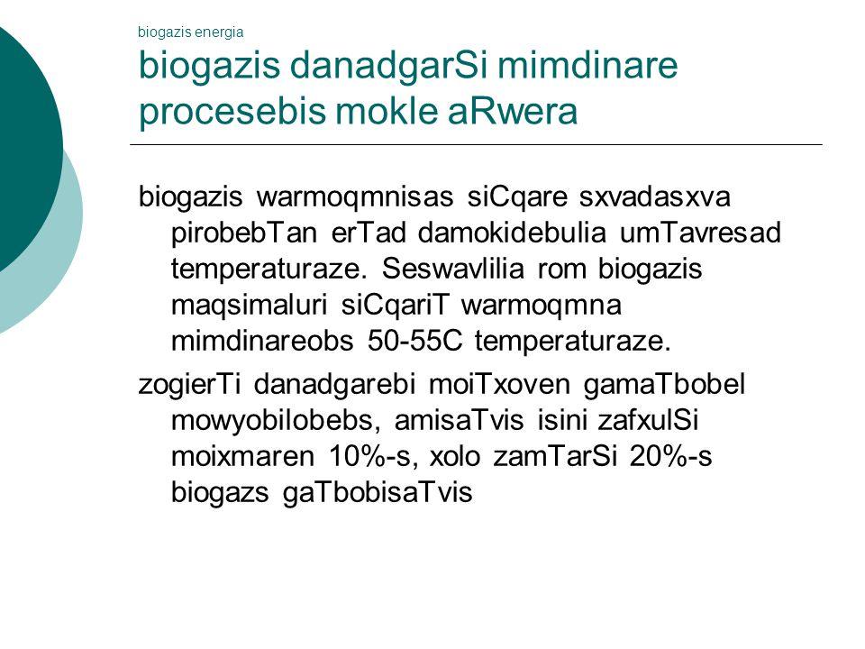 biogazis energia biogazis danadgarSi mimdinare procesebis mokle aRwera