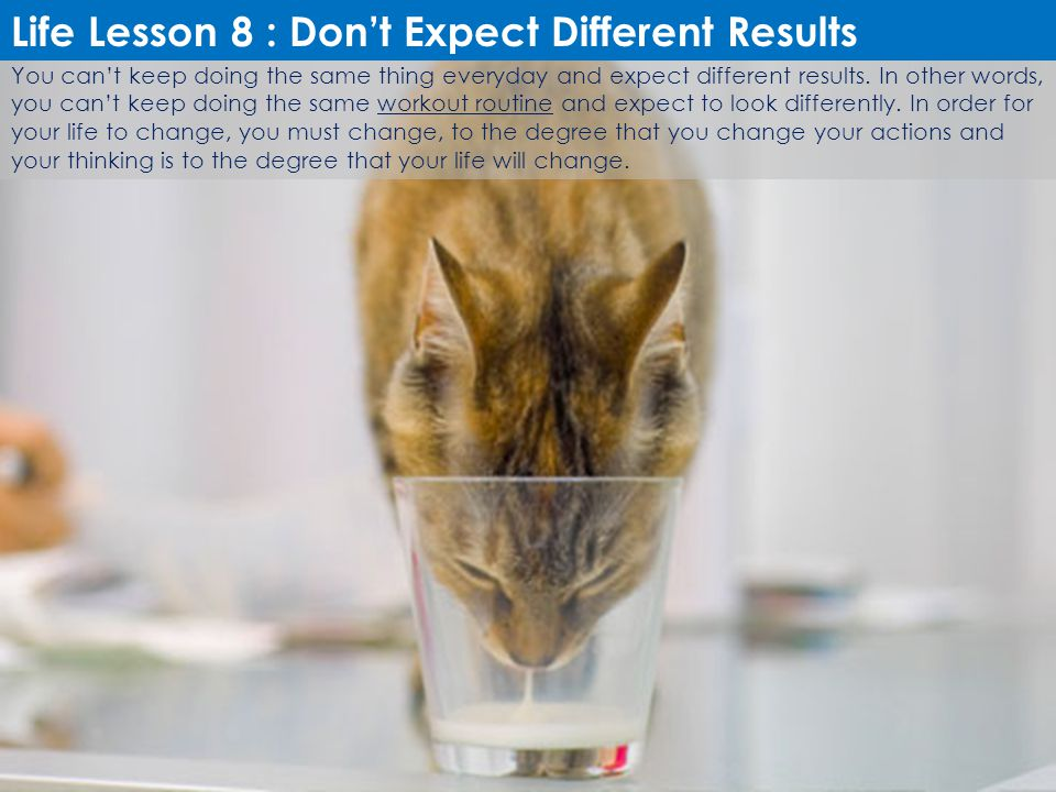 Life Lesson 8 : Don't Expect Different Results