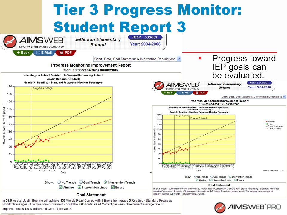 Tier 3 Progress Monitor: Student Report 3