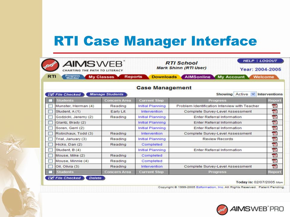 RTI Case Manager Interface