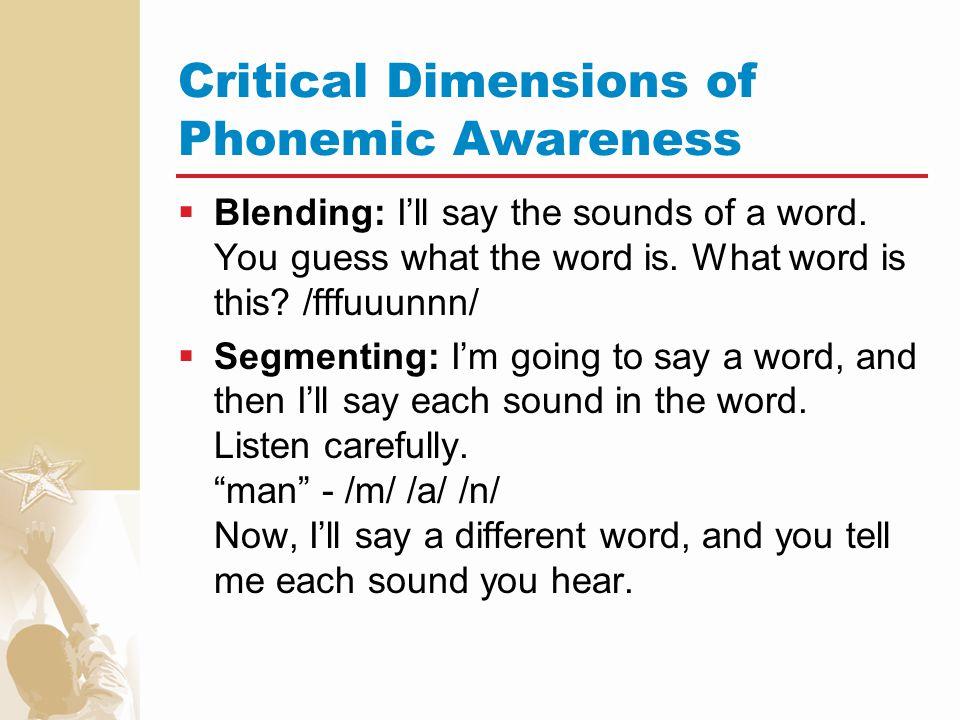 Critical Dimensions of Phonemic Awareness