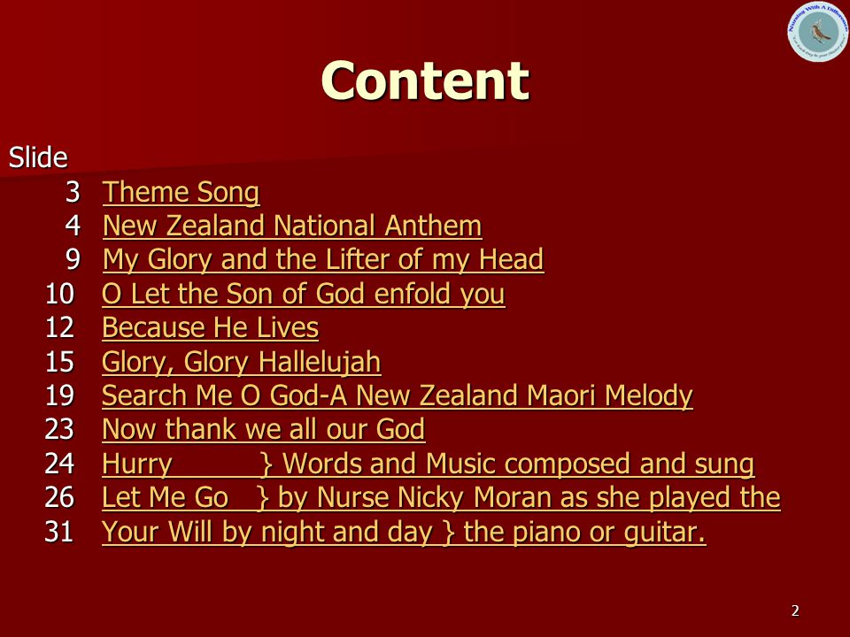 Content Slide 3 Theme Song 4 New Zealand National Anthem