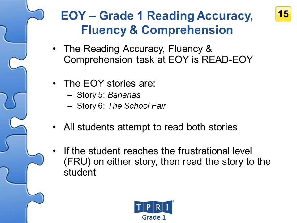 EOY – Grade 1 Reading Accuracy, Fluency & Comprehension