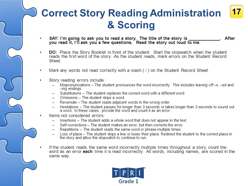 Correct Story Reading Administration & Scoring